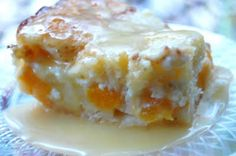 Peaches and Cream Cake w/ Warm Vanilla Sauce