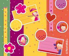 Otro Kit de Scrapbooking: este es para hadas y princesas :) Diviértete creando con mucha magia y encanto. Puedes combinarlo con papel pintado con acuarelas o simplemente con papel craft… y no olvides los lazos! El Kit contiene 3 páginas de papeles decorados de colores, 1 página con bandas variadas y 1 página con pegatinas, cenefas y etiquetas. Puedes descargarlo aquí: http://printykid.com/es/juego/85-kit-scrapbooking-3.html Qué te diviertas! :)