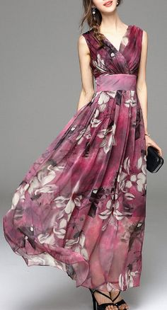Shop blacktang light purple floral print v neck maxi dress here, find your maxi  dresses at dezzal, huge selection and best quality.