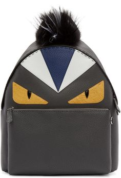 99695c0af5 Fendi Black Fur-trimmed Monster Backpack Monster Backpack
