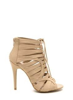 Hot To Trot Lace-Up Heels BLACK NUDE - GoJane.com