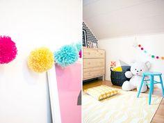 Sort of pink.: DIY Pompom garland & our baby girl's room.