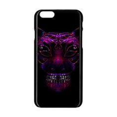 Creepy Cat Mask Portrait Print Apple iPhone 6 Black Enamel Case by dflcprints