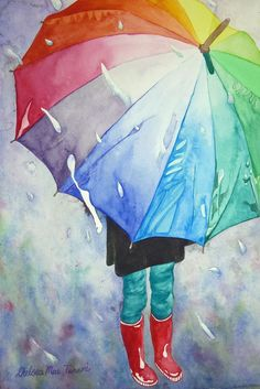 by Chelsea Smith watercolour umbrella red boots girlA splash of color can brighten any gloomy day. Watercolour by Chelsea Smithby Chelsea Smith - Love everything about this: the umbrella, the rain boots, the rain!bright colours of the umbrella agains Art And Illustration, Painting & Drawing, Art Watercolor, Umbrella Art, Umbrella Painting, Love Art, Painting Inspiration, Amazing Art, Art Projects