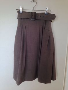 Amazing CUE Highwaisted Swing Skirt With Belt Wool Perfect Condition | eBay