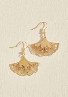 Ginkgo a Long Way Earrings. When you have earrings as dazzling as this dangling pair by Beijo Brasil, theyre sure to get a lot of wear! #gold #modcloth