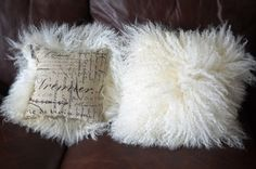 Pair of Natural white Mongolian Lamb Contemporary Modern Pillows. Fabric on back…