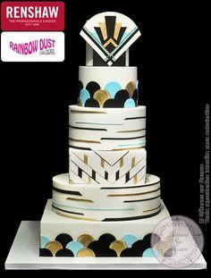 """Pièce montée Art Deco (from <a href=""""https://www.gateauxsurmesure.com/picture.php?/571/category/15"""">Gateaux sur Mesure Paris - Formations Cake Design, Ateliers pâte à sucre, Wedding Cakes, Gateaux d'Exposition</a>)"""