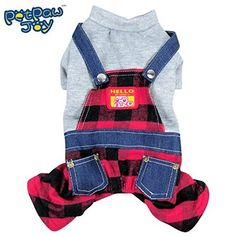 PetPawJoy Pet Plaid OverallsRed Medium ** Details can be found by clicking on the image. (This is an affiliate link) #CatsApparrel