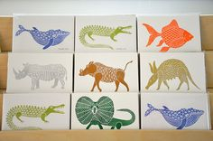 Lino Cuts by funnelcloudstudio on Etsy via Funnelcloud Studio blog. These would be great for a little boy's room!