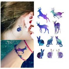 Colorful Jumping Deer Waterproof Temporary Tattoo Products Body Art Stickers Summer fake tattoos rabbit tatoo gift RC2262(China (Mainland))