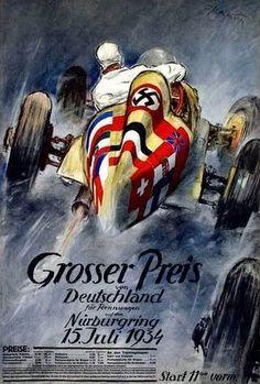 Cartaz do Grande prêmio da Alemanha de 1934. No inferno verde (Nürbugring). Belo cartaz, não obstante a propaganda fascista no santântonio do carro.