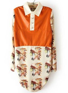 Orange White Long Sleeve Indian Avatar Print Dress