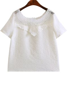 Scoop Neck Lace Splicing Solid Color T-Shirt WHITE: Tees | ZAFUL