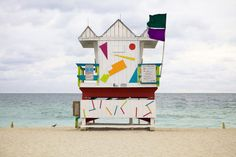 """Miami Houses"" captures the eccentric lifeguard huts that dot the shores of Miami Beach and South Beach. Leo, South Beach, Miami Beach House, Miami Life, Beautiful Beach Houses, Station Balnéaire, Beach Shack, Beach Huts, Small Buildings"