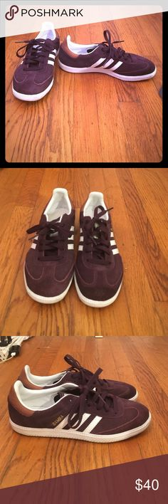 Adidas Men Maroon Samba Sneakers Men's maroon samba sneakers. It's a men's 5 1/2 but fits a woman 7 1/2. Extremely comfortable. Lightly used. They have only been worn twice. Adidas Shoes Sneakers