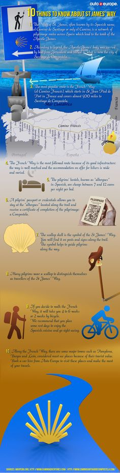 10 things you need to know about El Camino de Santiago! Get ready with our infographic! #elcaminodesantiago #pilgrimage #santiago #spain  More infographics from Auto Europe here: http://www.auto-europe.co.uk/go/infographics/