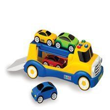 """Talk & Teach Transport by Constructive Playthings. $49.99. Truly amazing. this smart, talking truck actually teaches children colors and numbers as they play! Its 4 electronic, push-button modes enable the truck to recognize each car by color, placement and how many are on the ramps. It asks children to place the cars on the ramps based on color and location and then reinforces their choices with helpful spoken phrases. The freewheeling 12L. x 5""""W. x 5""""H. truck and 3-1/2""""L. ..."""