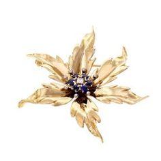 Tiffany & Co. Diamond Sapphire Gold Flower Brooch