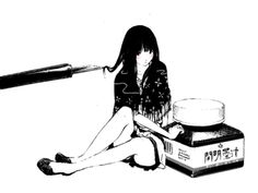 Black and white ink girl.