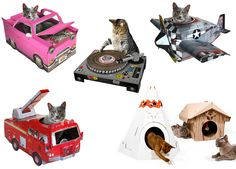 Suck UK cardboard #cat playhouse condo in the shape of a tank, pink cadillac, fire truck, DJ scratcher, teepee or cabin - Tatiana's Delights