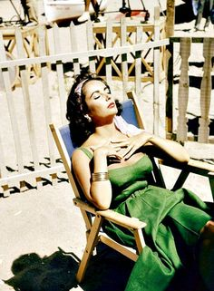 """Elizabeth Taylor basking in the sun on the set of """"Suddenly Last Summer"""" in Spain, 1959"""