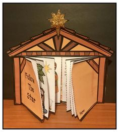 "Reading: December reading activities. Cute nativity storytelling craft. Stable ""doors"" open to reveal the story. Comes in color + BW, with & without text."