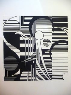 Art Abstract Line Design Cut Paper Mounted on by RusticaHandmade, $80.00