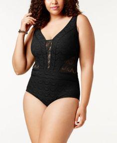 6eb8e13e618 Becca ETC Plus Size Crocheted Illusion One-Piece Swimsuit & Reviews -  Swimwear - Plus Sizes - Macy's