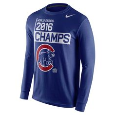 Chicago Cubs 2016 World Series Champions Long Sleeve Celebration T-Shirt  #ChicagoCubs #Cubs #FlyTheW #WorldSeries SportsWorldChicago.com