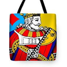 King Of Diamonds Tote Bag by Otis Porritt.  The tote bag is machine washable, available in three different sizes, and includes a black strap for easy carrying on your shoulder.  All totes are available for worldwide shipping and include a money-back guarantee.