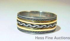 Vintage Designer Signed 7t 18K Gold Braid Sterling Silver Wide Band Ring sz 7.75 #Band