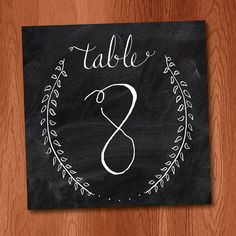 Instant Download Hand Calligraphy Laurel Branch Wreath Table Numbers 1-20 with Chalkboard Background