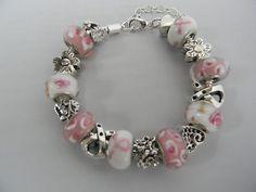 Breast Cancer Awareness Large Hole Bead European Charm Bracelet | eBay