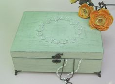 Wooden Jewelry Box Light Green Shabby Chic with by tammnoony