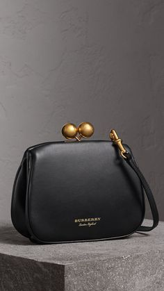 Small Leather Metal Frame Clutch Bag in Black - Women | Burberry United States
