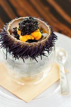 Tetsuya Wakuda's Marinated Botan Shrimp with Sea Urchin and Caviar at Waku Ghin, Singapore.Chef Tetsuya Wakuda's Marinated Botan Shrimp with Sea Urchin and Caviar at Waku Ghin, Singapore. Think Food, Love Food, Sashimi, Food Design, Wine Recipes, Gourmet Recipes, Molecular Gastronomy, Culinary Arts, Creative Food