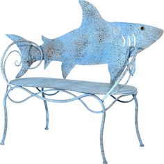 When you find the Cape Craftsman Shark Cut Out 56 in. Metal Outdoor Bench , you know that you're gonna need a bigger porch. This shark-themed bench is.