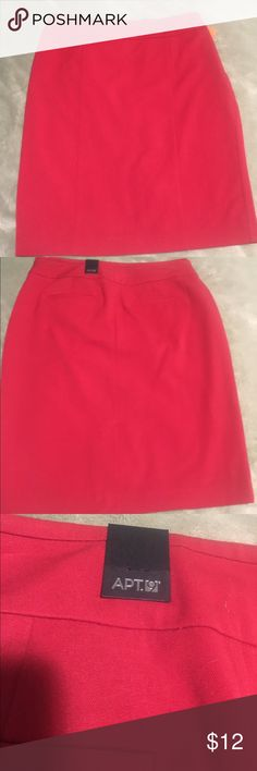 New Red A line pencil skirt This skirt is Brand New, in excellent condition. Original price $40. Has invisible side zipper. This skirt is lined & has spandex for stretch. Apt. 9 Skirts Pencil