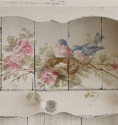 Shabby Chic Vintage Style Bluebird and Roses Shelf with Crystal Knobs - Debi Coules Romantic Art
