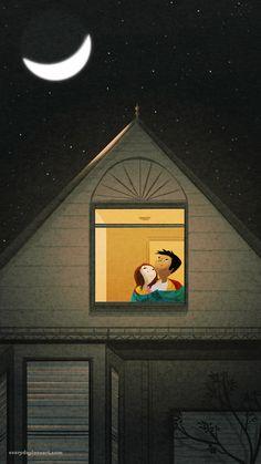 bundled - Everyday Love Art - The Art of Nidhi Chanani Couple Illustration, Illustration Art, Nidhi Chanani, Pascal Campion, 3d Art, Good Night Moon, Moon Art, Stars And Moon, Night Skies