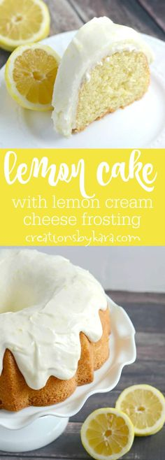 Lemon fans go crazy for this amazing Lemon Cake with lemon cream cheese frosting. It is simple and delicious! A perfect spring cake recipe.  via @creationsbykara.com