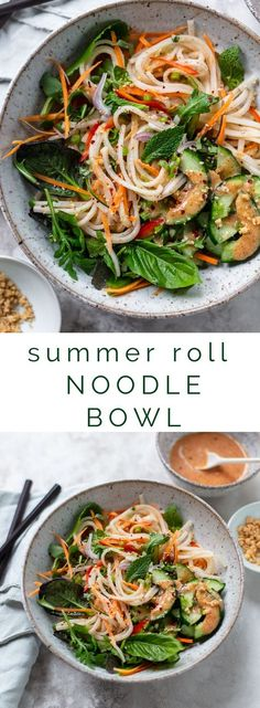 abendessen Fresh Summer Roll Noodle Bowl Fresh Summer Roll Salad Bowl: A healthy, fresh Vietnamese-inspired noodle bowl - deconstructed fresh summer roll salad with basil, mint and raw vegetables. Noodle Bowls, Ramen Bowl, Rice Noodle Salads, Recipes With Rice Noodles, Vegetarian Rice Noodle Recipes, Recipes With Basil, Vegetarian Dishes Healthy, Rice Salad, Dinner Healthy