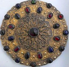 Antique Gulyaka Yomut Gilded Silver Collar Button.