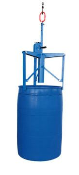 Automatic Overhead Drum Lifter. Designed to handle 55 gallon steel, plastic and fiber closed head drums with a top lip. Automatic secure and release eccentric lock makes this drum handler a real time saver. Includes adjustable positioning feature for increased adaptability. Requires assistance from an overhead lifting device. Not for use with open head drums. Specs: capacity 800 lbs.