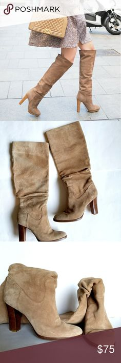 """Banana Republic Suede Boots Tan suede high boots with chunky heel. In great preloved condition,  worn a few times.  3.5"""" heel, shaft is 13"""" long and 7"""" wide. Has a slight discoloration on the back of the shaft and some dirt on the heel of the right boot. (See last 2 pics) Banana Republic Shoes"""