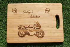 Motorcycle / Motorbike Personalised Chopping Board (With Gift Tag), Engraved Personalized Cutting Board - Present, Birthday, Housewarming Personalised Chopping Board, Beeswax Polish, Wine Bottle Gift, Great Hobbies, Wooden Gifts, Christmas Delivery, Bamboo Cutting Board, Motorbikes, Gift Tags
