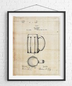 Beer Mug Patent Print, Beer Stein Patent, Beer Art, Beer Gifts, Bar Decor, Bar Art, Vintage Patent Poster, Gifts for Him, Man Cave Wall Art https://www.etsy.com/listing/493572729/beer-mug-patent-print-beer-stein-patent?ref=shop_home_active_17