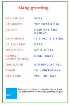 This is how you can greet people in #French. Check out cool #slang Greetings and download the list in PDF format for free! https://www.talkinfrench.com/vocabulary-greeting-people/