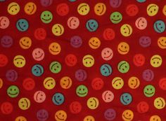 Smiley Face Emoji on Red Fabric by the Yard by LaCreekBlue on Etsy